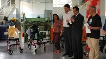 Cônsul geral do Japão e autoridades participam de inauguração de oficina de cadeiras de rodas; veja fotos
